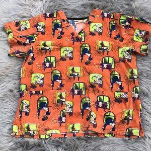 Tafford- large Halloween scrub top.